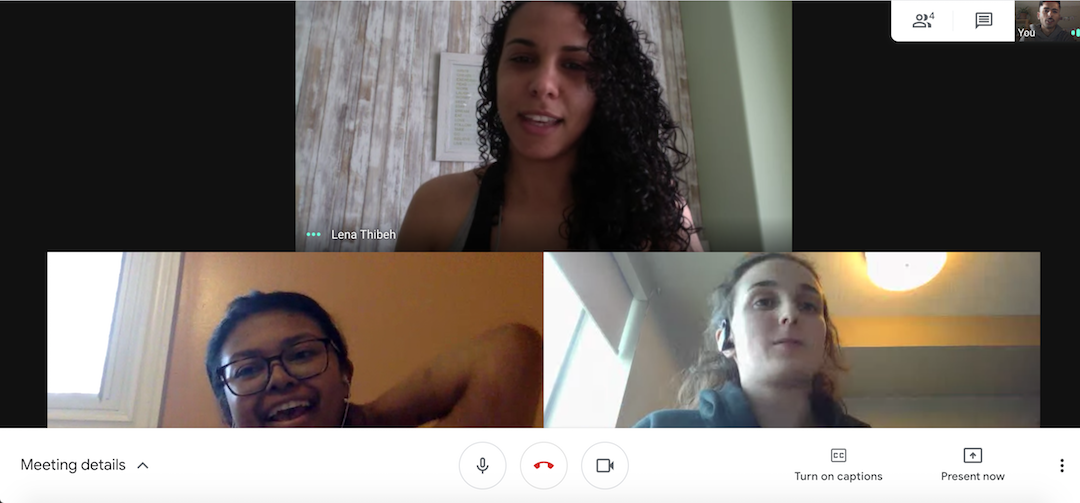 Screenshot of Lunaria team meeting virtually over Google Hangout