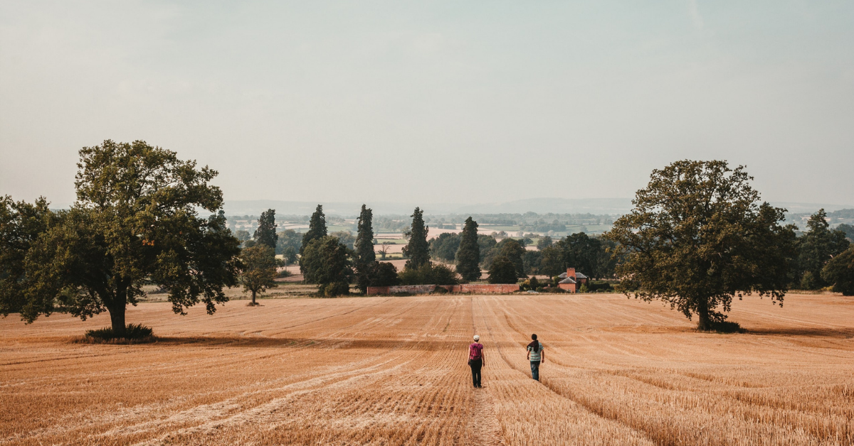 Image of two individuals walking side by side in a large field.