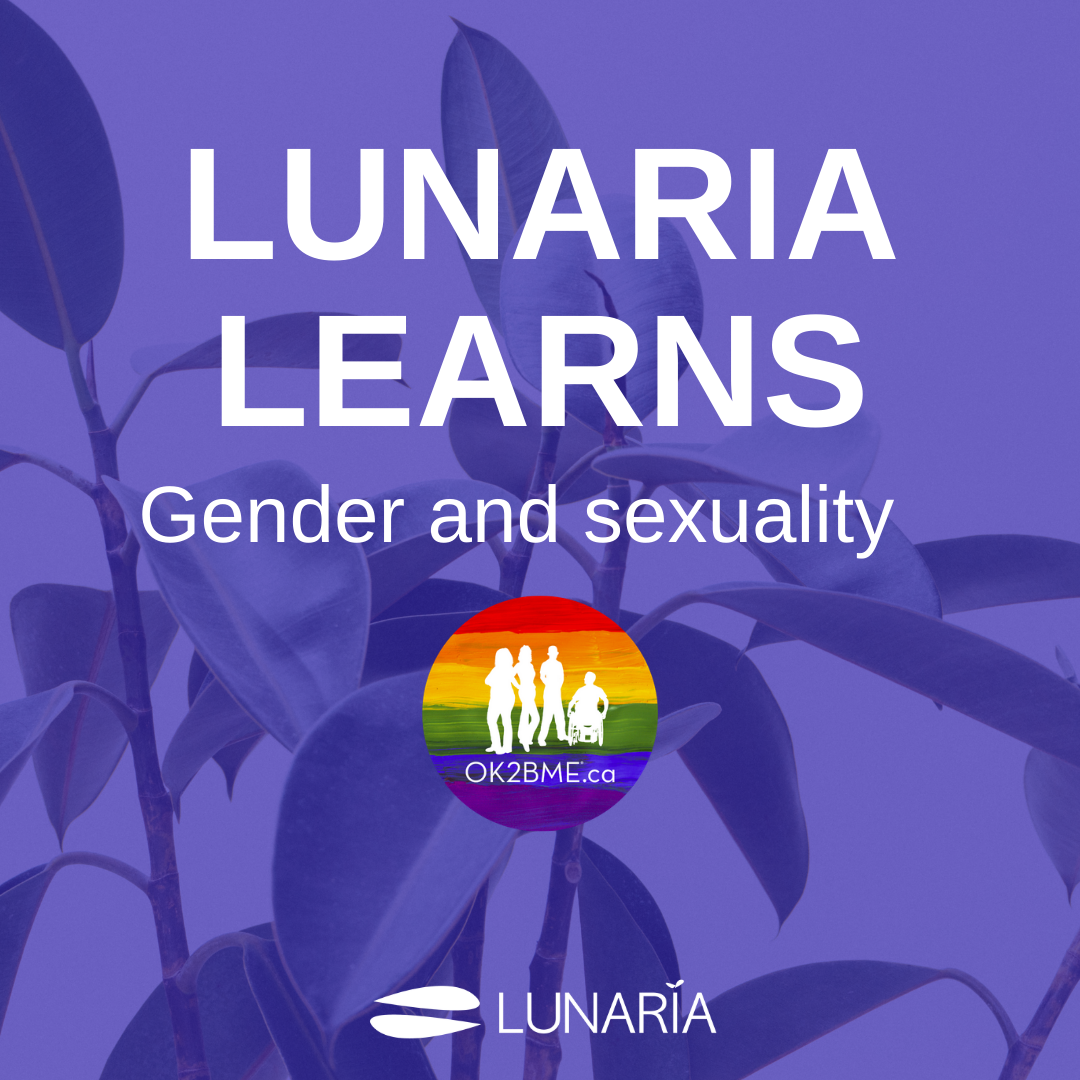 text: Lunaria Learns: gender and sexuality, underneath is the OK2BME logo and the lunaria logo