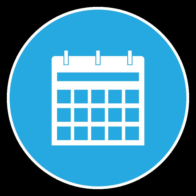 Calendar icon on blue background