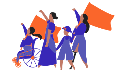 People marching, first person in a wheelchair, second person tall with arm up, third person short, and last person with a prosthetic leg and arm up